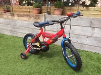 "Boys 14"" bike with stabilisers (detached)"