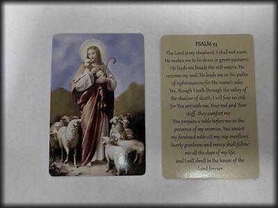 Psalm 23 verse with Jesus & Lambs  Laminated catholic prayer card