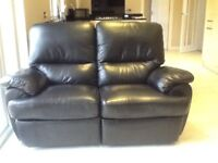 2 Seater Recliner Black Leather Sofa