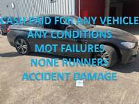 TOP MONEY PAID FOR UNWANTED SCRAP CARS VEHICLE NONE RUNNERS MOT FAILURES TAMWORTH