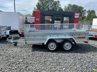 BRAND NEW 10FT x 5FT TWIN AXLE BORO TRAILER WITH 40CM MESH 750KG