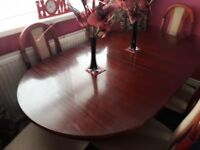 Mahogany table and 6 matching chairs
