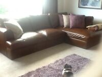 Large leather corner sofa from next
