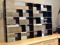 CD and DVD shelf unit Stainless steel and black contemporary style