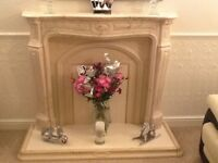 Marble fire place with 3 tables of various sizes