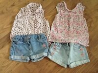 Girls shorts and T- shirt bundle aged 12-18 months