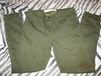 KHAKI GREEN SUPER SKINNY JEANS BY NEXT SIZE14 REGULAR GREAT CONDITION
