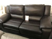 Leather 3 seater electric recliner sofa