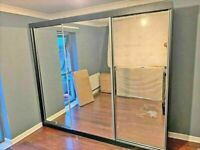 💥💯MMEGA SALES ON 2 DOORS SLIDING WARDROBE WITH FULL MIRRORS ALL SHELVES & RAILS INCLUDED