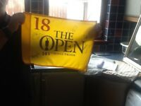 Signed 18th green flag from 2016 open at Troon