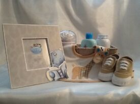 Baby boy gift parcel in matching colours