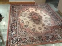 100% pure new wool-this is a used rug 170cm x230cm -very good clean condition-peach,pink,cream,black