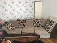 Beige & brown 7 seater corner sofa