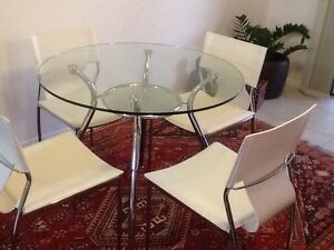 Glass topped dining room table and 4 chairs Wooloowin Brisbane North East Preview
