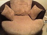 Swivel armchair and matching corner sofa