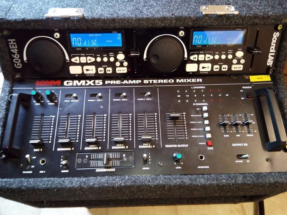 DJ CD Mixer, CD Player, Amplifier, Speakers, Mic & Cables