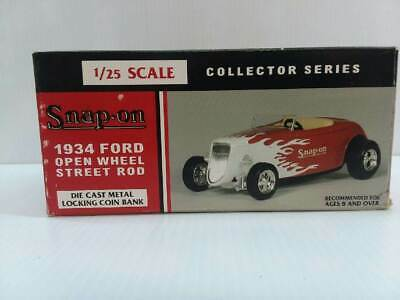 Snap On 1934 Ford Open Wheel Street Rod Diecast Metal Locking Coin Bank RARE NEW