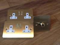 Brass double plug sockets x2 and dimmer switch