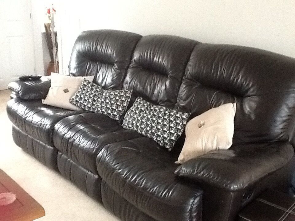 Almost black leather sofa
