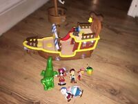 USED MUSICAL JAKE AND THE NEVERLAND PIRATES SHIP + FIGURES JUST £10