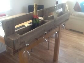 Industrial style wine and glass wall rack