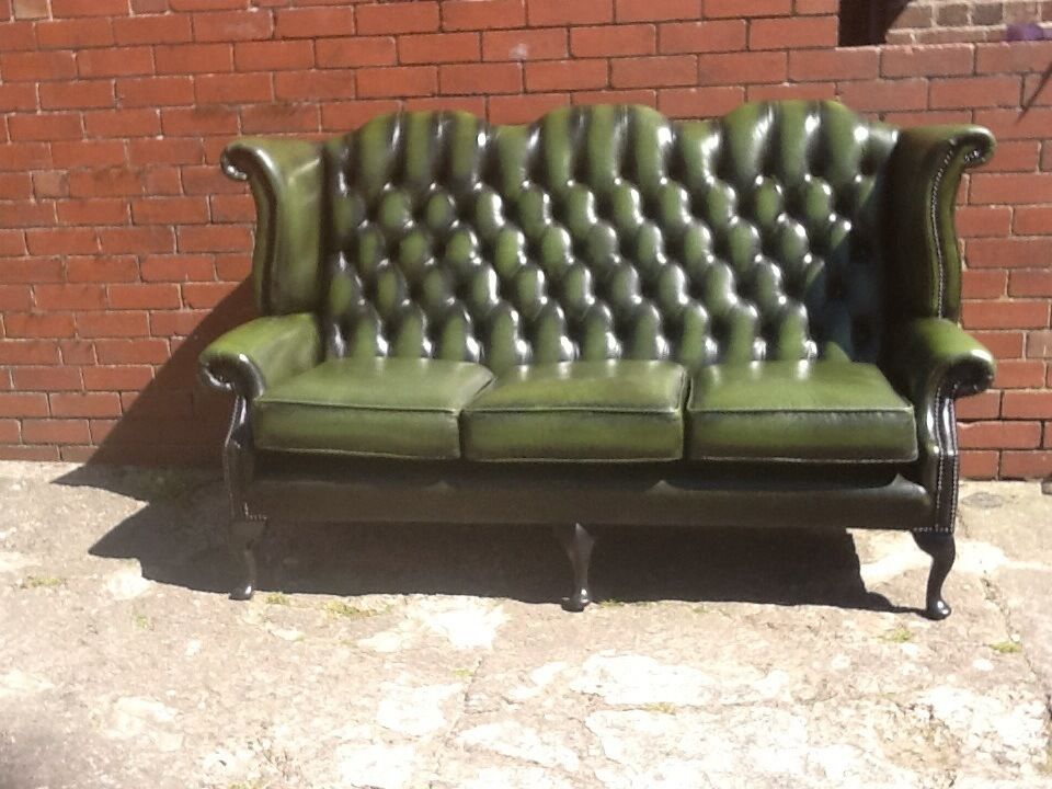 Leather Chesterfield Queen Anne Wingback 3 Seater Sofa