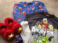 Age 10/11 Angry birds slippers, onesie and long sleeve t shirt all from next. Good condition
