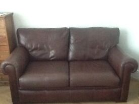John Lewis Brown Leather Sofa, Chair and Pouffe good condition