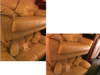 REDUCED.....2 x 2 seater cream chunky leather sofas Very comfy SEE DETAILS BELOW