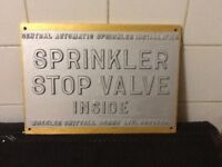 Sprinkler stop valve sign