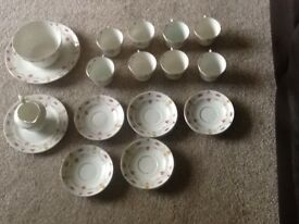 19th Century Part Tea Set By Clifton China / Haddon Pattern / Fine Bone China