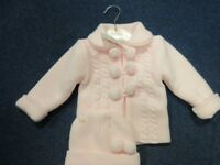 BNWT 9 month old Pale pink Knitted Jacket and Hat