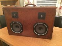 Vintage suitcase boombox Bluetooth/amp and battery pack built in