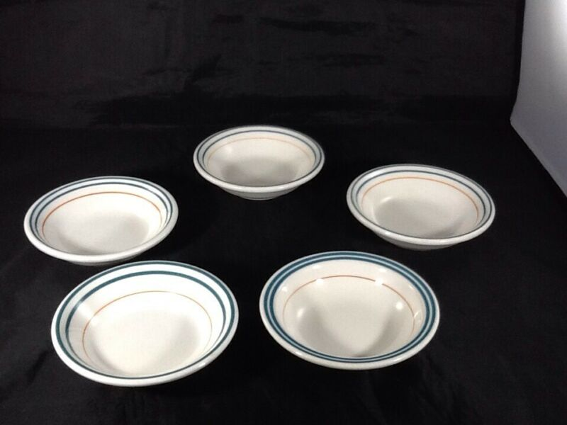 "THIS IS VINTAGE BUFFALO CHINA RESTAURANT WARE BERRY DESSERT BOWLS 5"" SET OF 5"