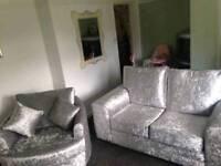 Crush velvet 2 seater and swivel chair