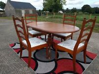 Pine drop leaf dining table and 4 chairs