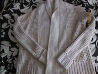 CREAM CHUNKY CARDIGAN BY RED HERRING SIZE 14 IN VERY GOOD CONDITION