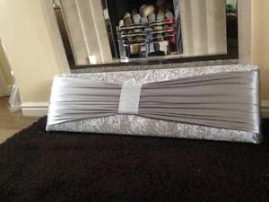 boxed window pelmet padded  5ft  light silver velvet and sash