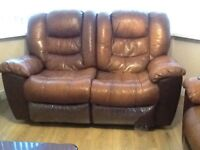 Leather recliner sofa....3 seater +2 seater + armchair....good condition