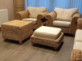 Conservatory 5 piece suite. Solid natural look rattan. Removable washable covers, oatmeal in colour.