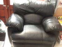 Faux leather 2 seater sofa and matching recliner armchair