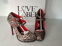Gorgeous fearne Cotton heels leopard print and red size 4