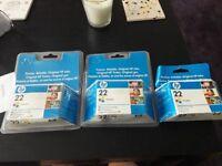 HP Ink cartridges 22 Tri-colour x3
