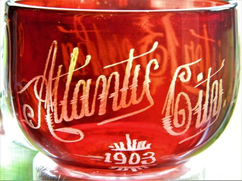 """EAPG Ruby  Stained glass Souvenir Cup,""""Aunt BerthaAtlantic City 1905"""""""