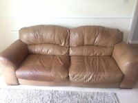 Three-Seater Brown Leather Sofa, Armchair and Stools