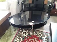 Lovely black gloss oval TV stand Copley Mill LOW COST MOVES 2nd Hand Furniture STALYBRIDGE SK15 3DN