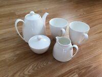 Denby white China teaset teapot mugs plates