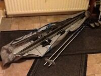 2 pairs of skis complete with bindings & 1 pair of ski poles