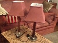 PAIR LARGE BURGUNDY GLASS TABLE LAMPS