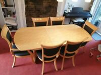 dining table light beech 6 chairs